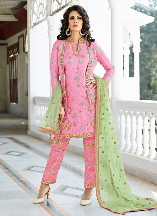 Bridal Wear Pink Silk Hand Work Salwar Suit