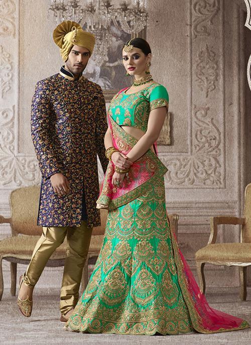 Bridal Wear Pista Green Satin Heavy Embroidery Work Lehenga Choli