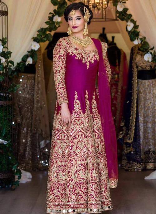Bridal Wear Purple Tapeta Silk Heavy Embroidery Work Salwar Suit