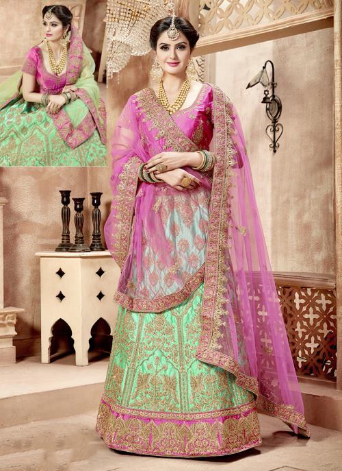Bridal Wear Rama Green Nylon Satin Hand Work Lehenga Choli