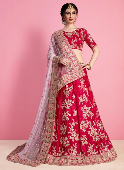 Bridal Wear Rani Art Silk Sequins Work Lehenga Choli