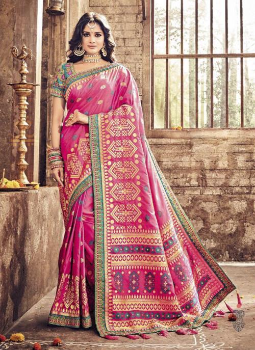 Bridal Wear Rani Banarasi Silk Heavy Embroidery Work Saree