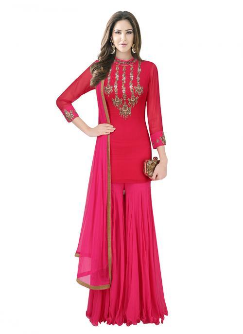 Bridal Wear Red Crepe Silk Hand Work Designer Short Shirt With Sharara