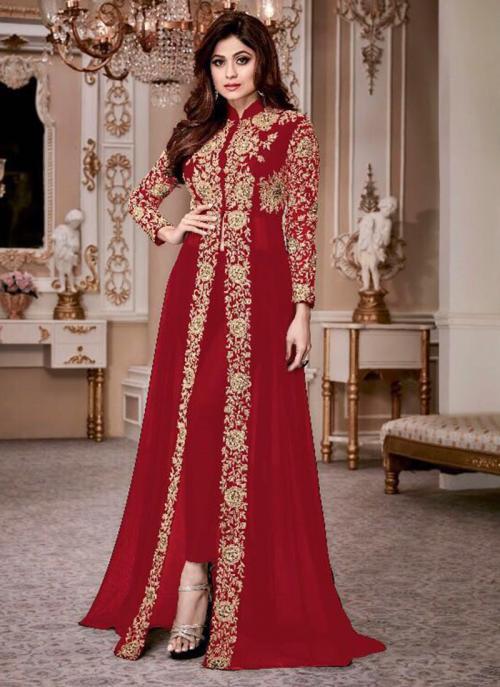 Bridal Wear Red Georgette Embroidery Work Salwar Suit