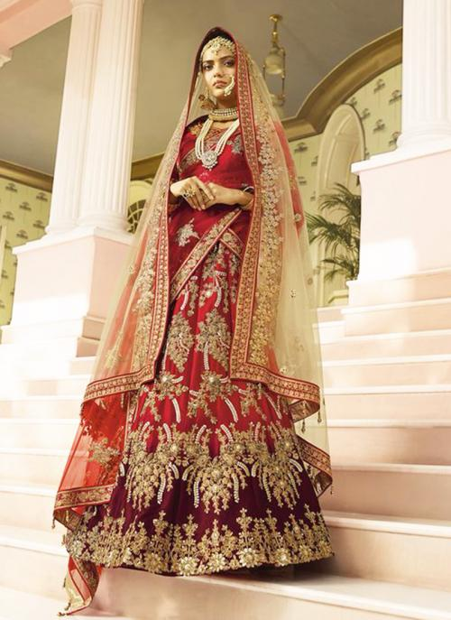 Bridal Wear Red Silk Heavy Embroidery Work Lehenga Choli