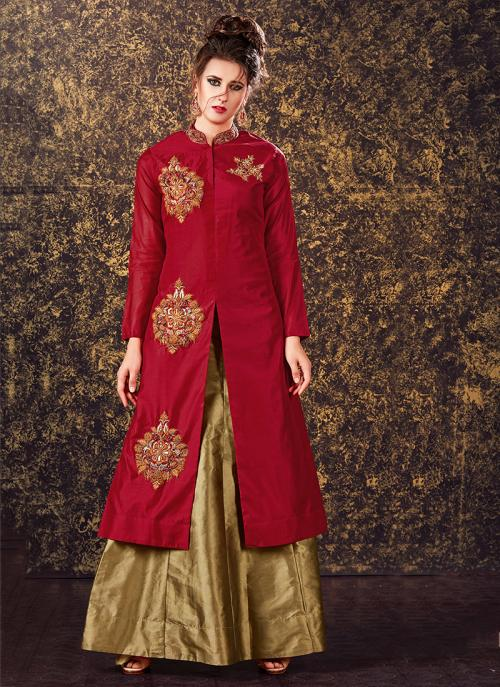 Bridal Wear Red Silk Zari Work Lehenga Suit
