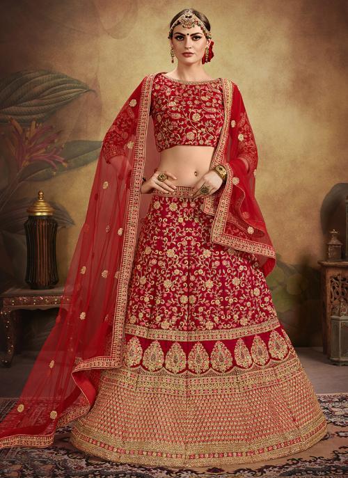 Bridal Wear Red Velvet Embroidery Work Lehenga Choli