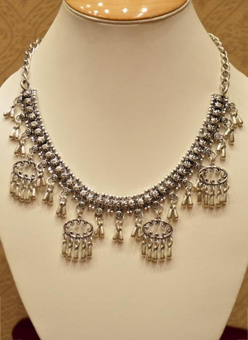 Bridal wear silver jewellery necklace set with dangles