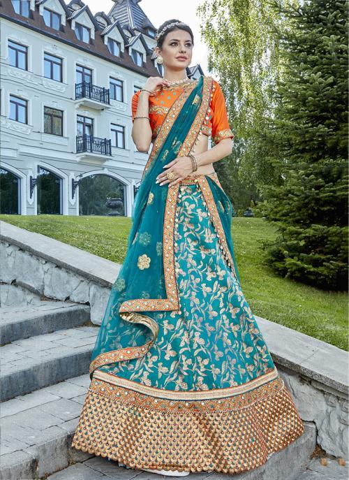 Bridal Wear Sky Blue Jacqaurd Heavy Embroidery Work Lehenga Choli