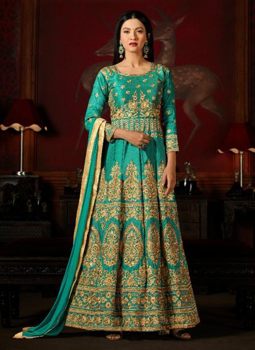 Bridal Wear Teal Silk Heavy Embroidery Work Anarkali Style