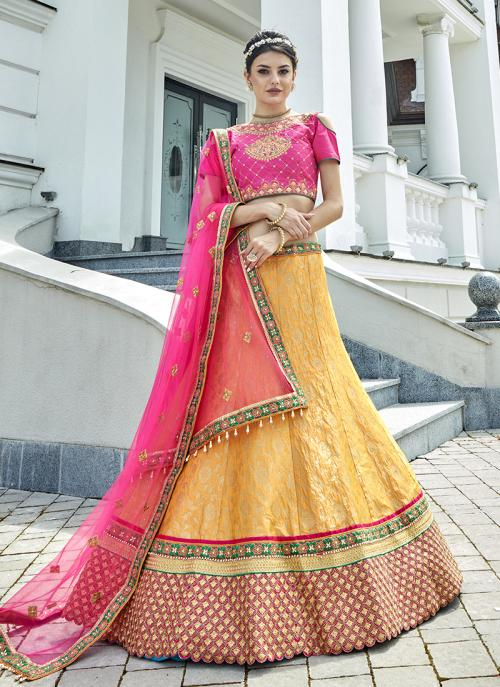 Bridal Wear Yellow Jacqaurd Heavy Embroidery Work Lehenga Choli