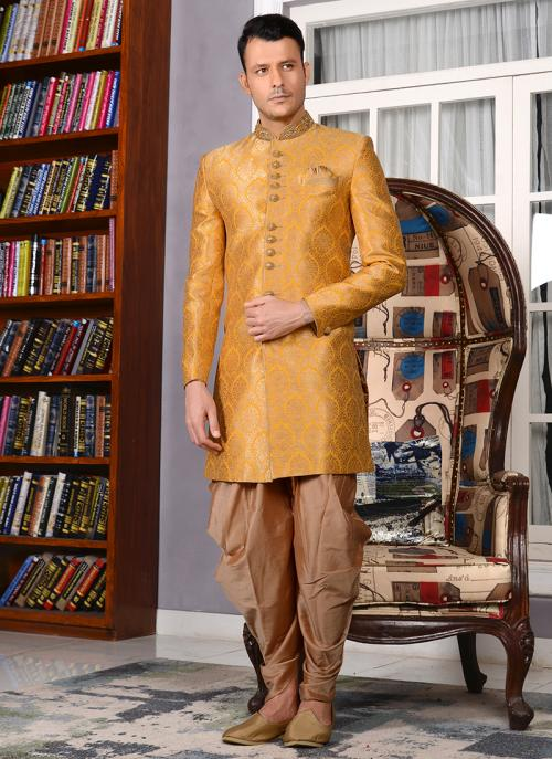 Bridal Wear Yellow Jacqaurd Silk Embroidery Work Sherwani
