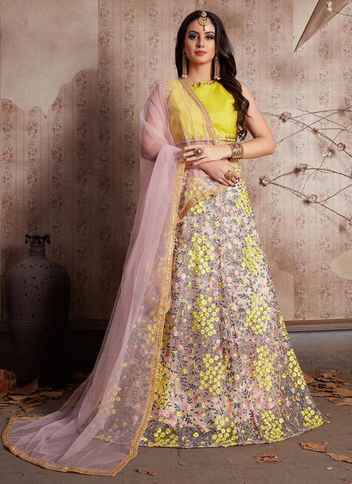 Bridal Wear Yellow Net Zari Embroidery Work Lehenga Choli
