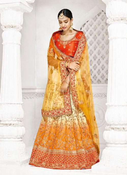 Bridal Wear Yellow Row Silk Thread Work Lehenga Saree