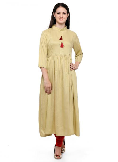 Casual Wear Beige Rayon  Plain Kurti