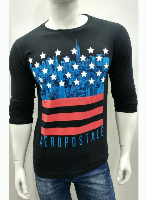 Casual Wear Black Cotton Stylish Plain T-Shirts