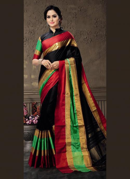Casual Wear Black Cotton Silk Lace Work Saree
