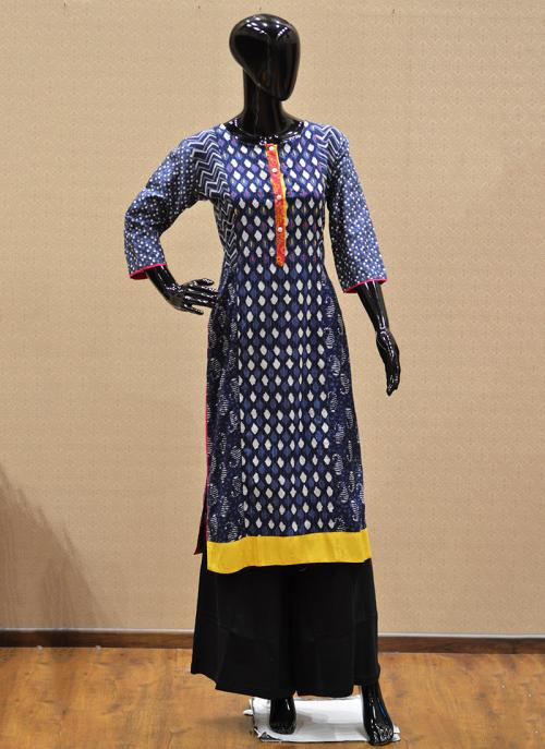 Casual Wear Blue Rayon Printed Work Kurti