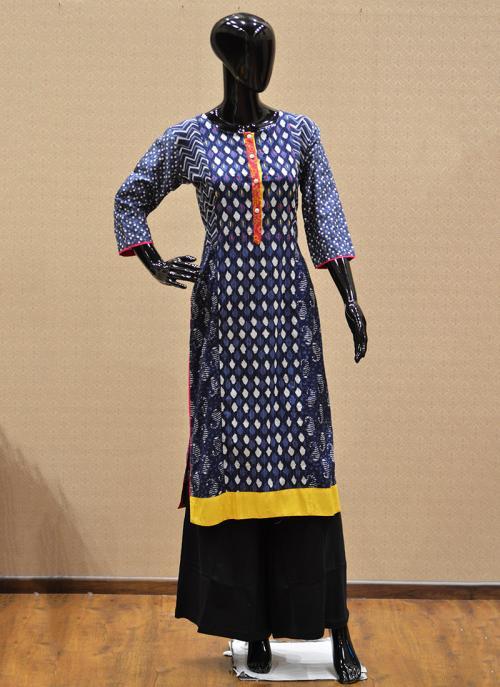 Casual Wear Blue Rayon Printed Work Kurti