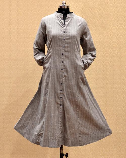 Casual Wear Brown Cotton Pleats Work Kurti