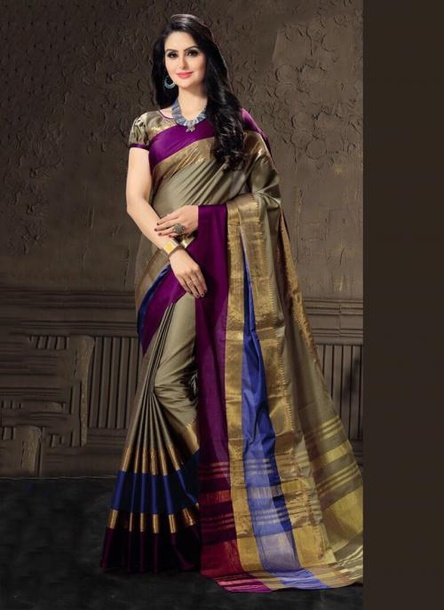 Casual Wear Brown Cotton Silk Lace Work Saree
