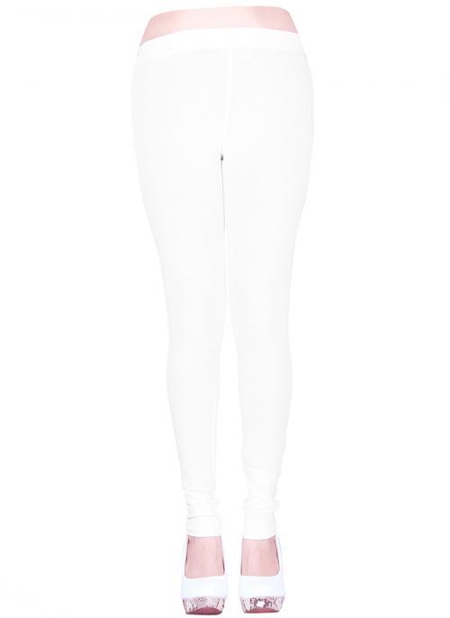 Latest Casual Wear Cream Cotton Plain Leggins