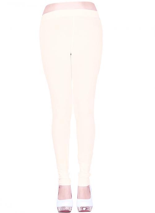 Cream Casual Wear Plain Cotton Leggins