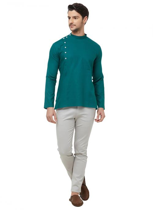 Casual Wear Green Cotton Plain Short Kurta