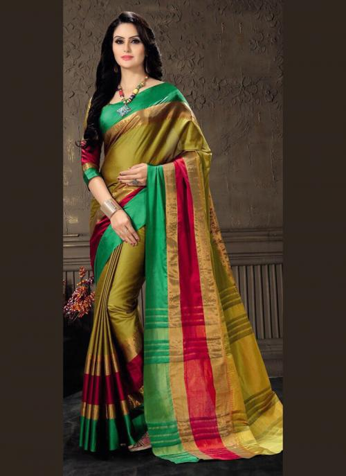 Casual Wear Green Cotton Silk Lace Work Saree