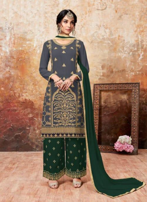 Casual Wear Green Faux Georgette Embroidery Work Palazzo Style