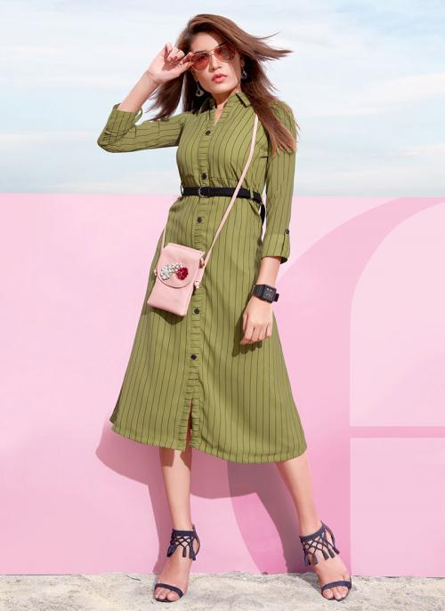 Casual Wear Green Georgette Lining Top