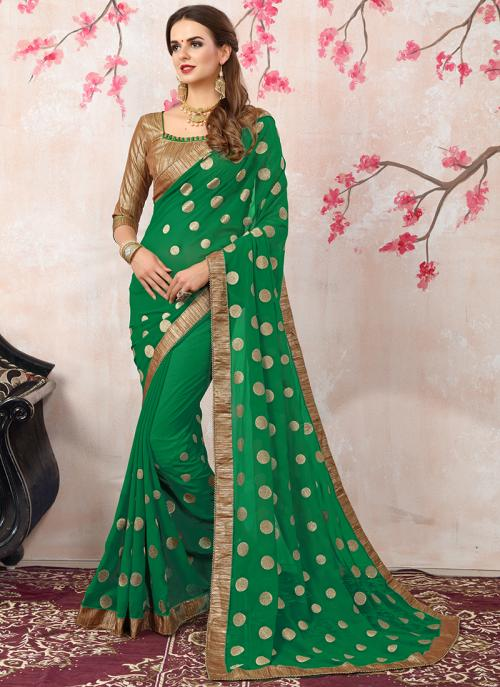 Casual Wear Green Georgette Zari Work Saree