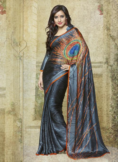 Casual Wear Grey Jacqaurd Printed Work Saree