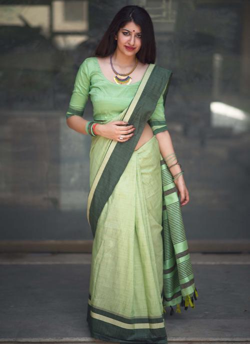 Casual Wear Light Green Cotton Slub Lace Work Saree