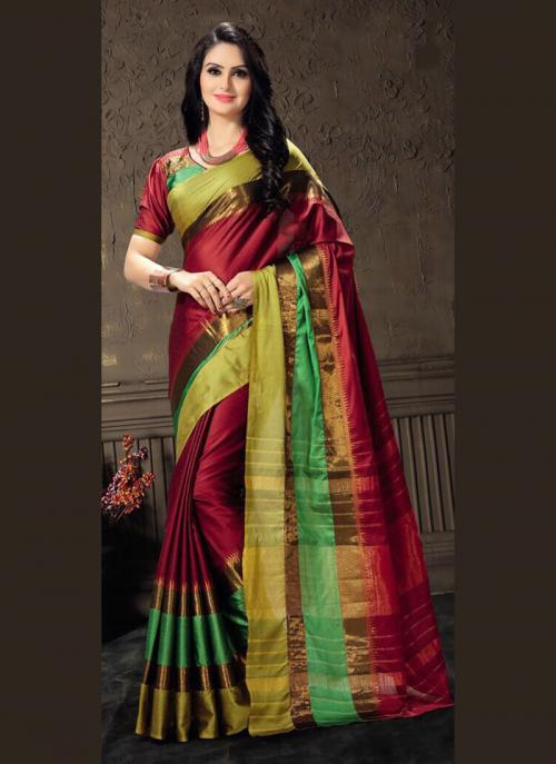 Casual Wear Maroon Cotton Silk Lace Work Saree