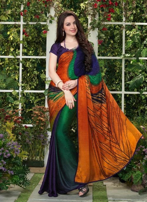 Casual Wear Multi Color Jacqaurd Printed Work Saree