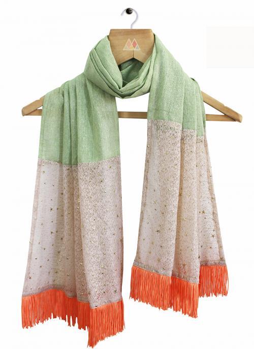 Casual Wear Multi Color Khadi Lace Work Dupatta