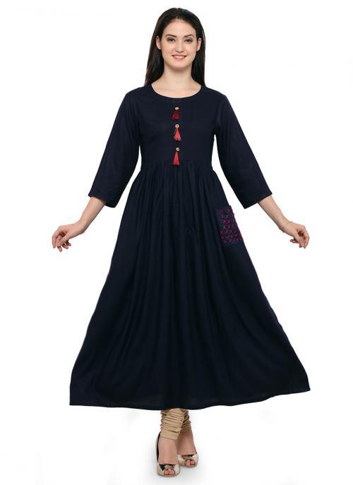Casual Wear Neavy Blue Rayon  Plain Kurti