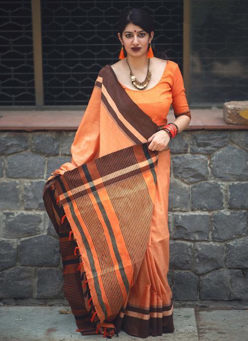 Casual Wear Orange Cotton Slub Lace Work Saree