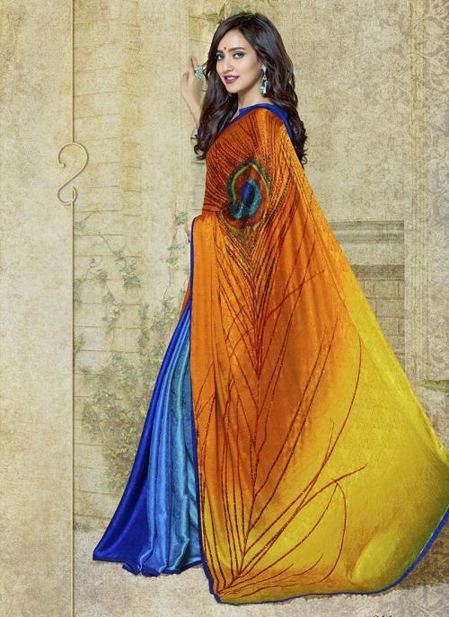 Casual Wear Orange Jacqaurd Printed Work Saree
