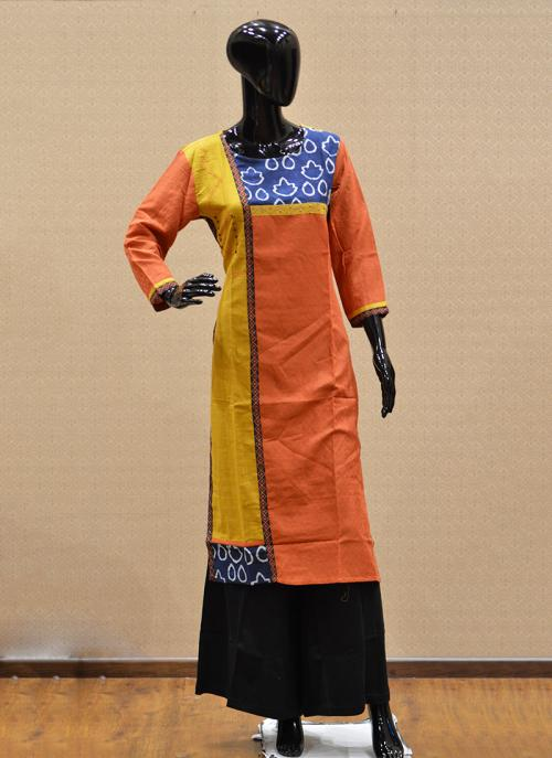 Casual Wear Orange Rayon Printed Work Kurti