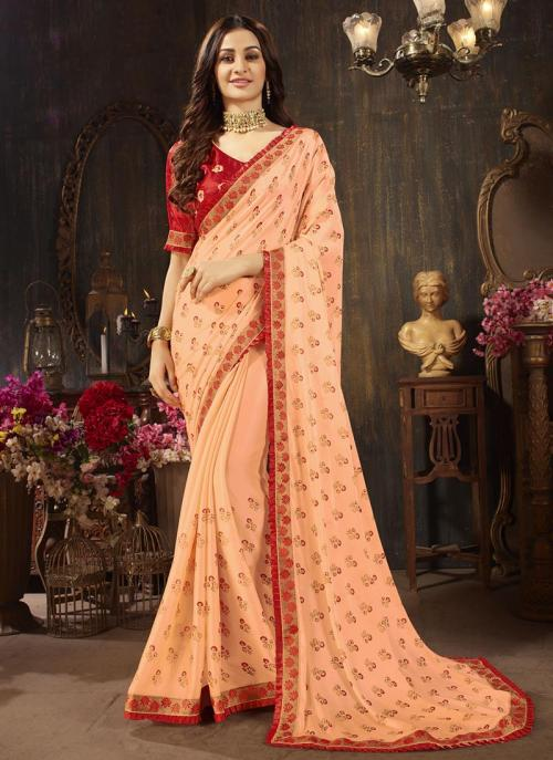 Casual Wear Peach Georgette Silk Embroidery Work Saree