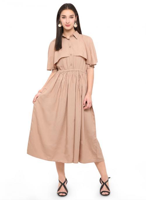 Casual Wear Peach Rayon Plain Kurti
