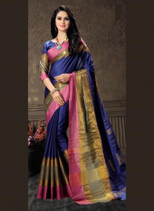 Casual Wear Purple Cotton Silk Lace Work Saree