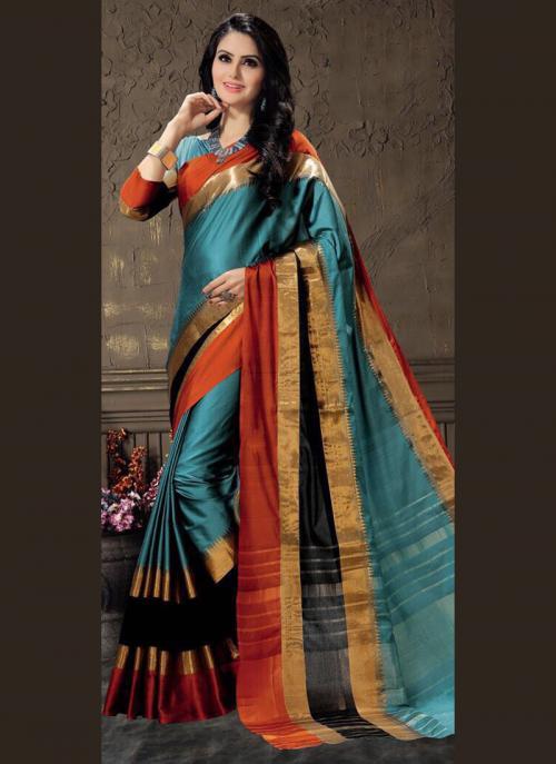 Casual Wear Rama Cotton Silk Lace Work Saree