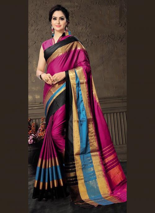 Casual Wear Rani Cotton Silk Lace Work Saree