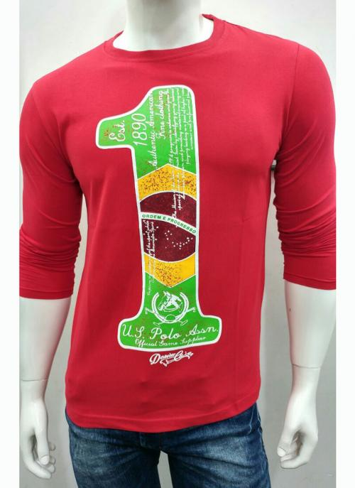 Wholesale Price Casual Wear Red Cotton Plain T-Shirts