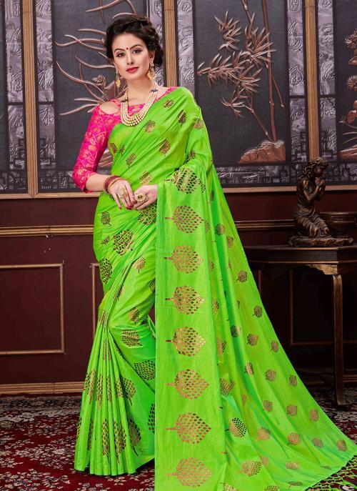 Casual Wear Sea Green Two Tone Net Rubber Printed Saree