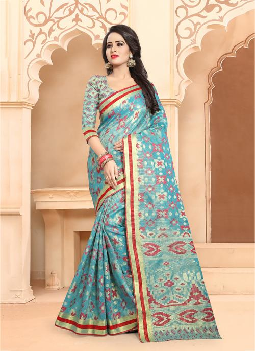 Casual Wear Sky Blue Banarasi Silk Embroidery Work Saree