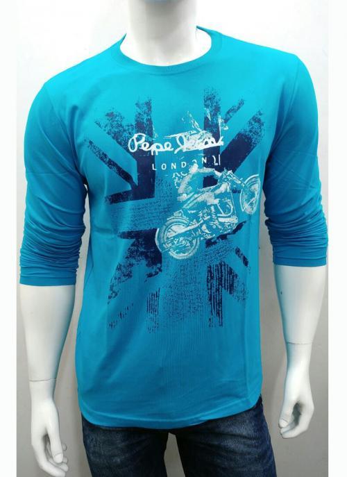 Cotton Plain Casual Wear Sky Blue T-Shirts